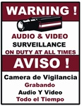 "9"" x 7"" Audio & Video Surveillance Warning Sign (RED)"